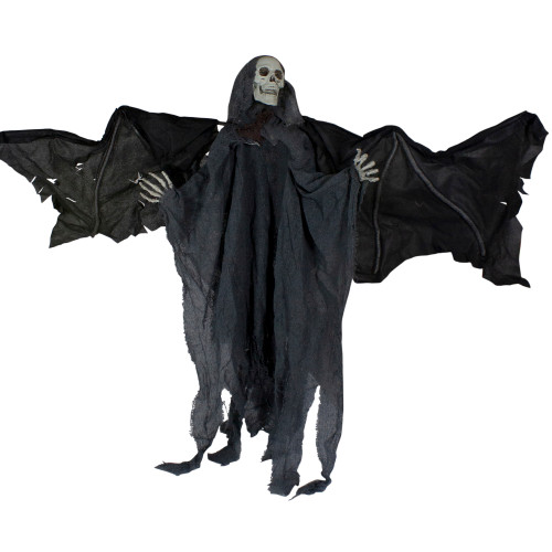"""50"""" Gray and Black Animated Hanging Winged Reaper with LED Eyes Halloween Decoration - IMAGE 1"""