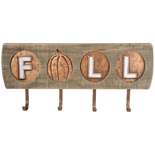 """20"""" Brown and White Pumpkin """"Fall"""" Wooden and Metal Hook Wall Decor - IMAGE 1"""