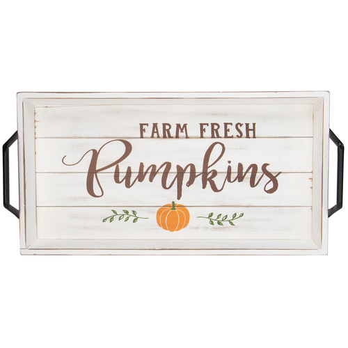 "18"" White and Brown ""Farm Fresh Pumpkins"" Thanksgiving Wood Tray - IMAGE 1"