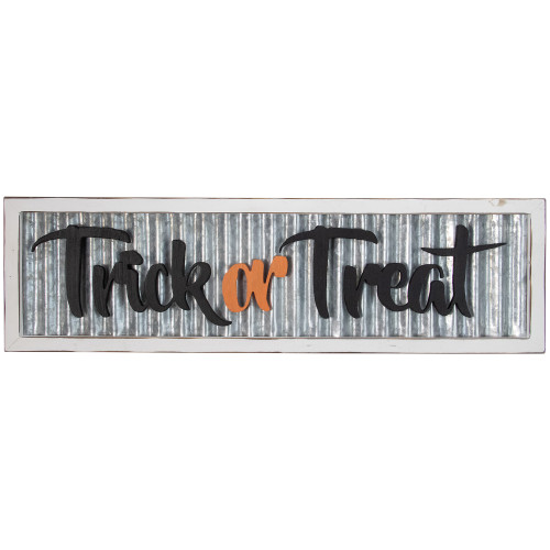"""27.5"""" Silver and White Distressed """"Trick or Treat"""" Halloween Wood Wall Sign - IMAGE 1"""