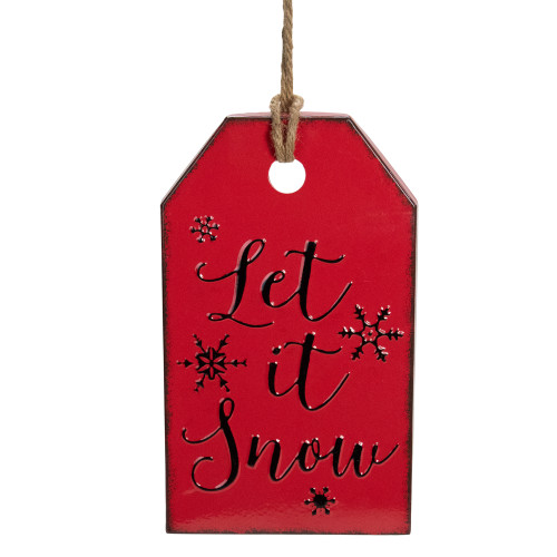 """12.25"""" Red and Black Metal Distressed """"Let It Snow"""" Christmas Wall Decor - IMAGE 1"""