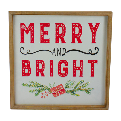 """16"""" Wooden Framed """"Merry And Bright"""" Metal Christmas Sign Wall Decor - IMAGE 1"""