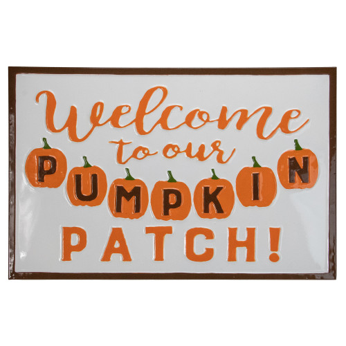 """20.25"""" Orange and White """"Welcome To Our Pumpkin Patch!"""" Autumn Metal Wall Decor - IMAGE 1"""