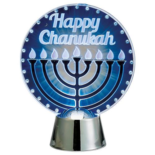 "4.5"" Happy Hanukkah and Menorah LED Lighted Tabletop Decoration - IMAGE 1"