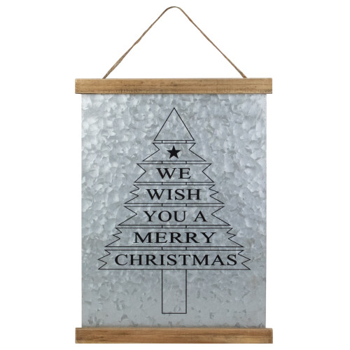 """16"""" We Wish You a Merry Christmas Galvanized Sheet Metal Hanging Wall Sign - IMAGE 1"""