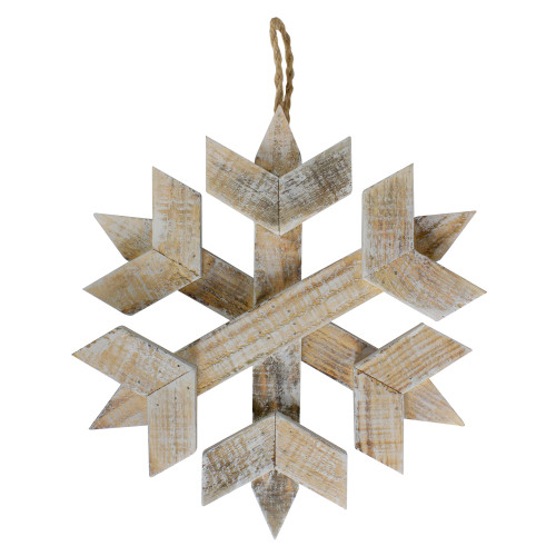 "11.5"" Wooden Hanging Snowflake Christmas Ornament - IMAGE 1"