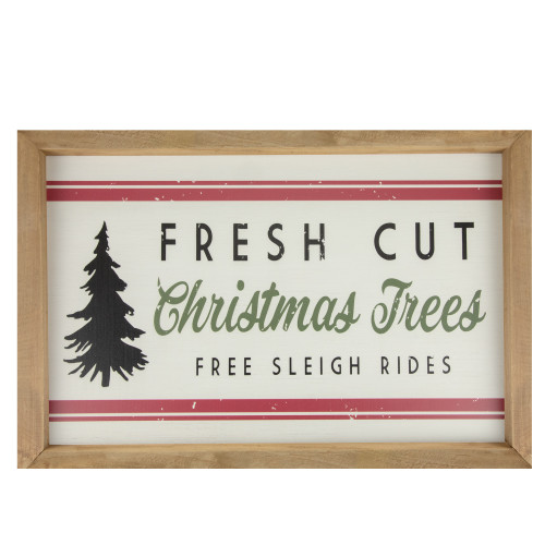"""18"""" White and Red Rectangular """"Fresh Cut Christmas Trees"""" Wooden Christmas Wall Decor - IMAGE 1"""
