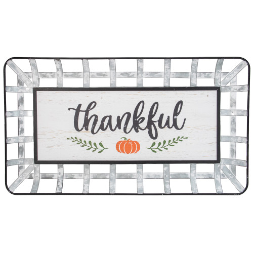 "24"" Silver and White With a Pumpkin ""Thankful"" Rectangular Fall Serving Tray Sign - IMAGE 1"