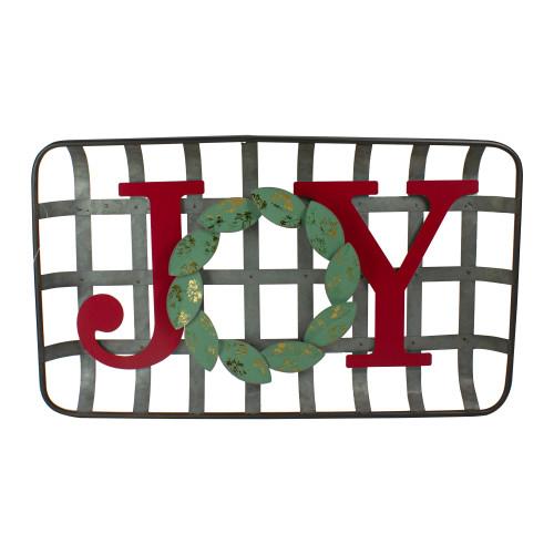 "24"" Red and Green ""JOY"" Rustic Tobacco Basket Christmas Wall Decor - IMAGE 1"