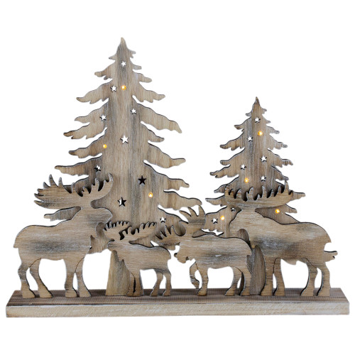"""13.5"""" Lighted Wooden Moose and Forest Tree Scene Christmas Tabletop Decor - IMAGE 1"""