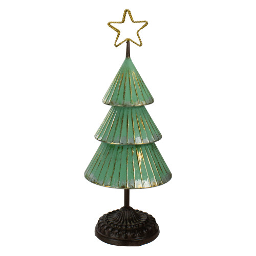 """17"""" Rustic Green and Gold Tabletop Christmas Tree With a Cutout Star Topper - IMAGE 1"""