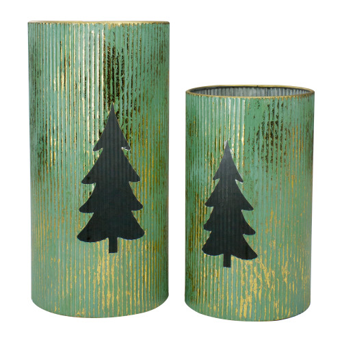 "Set of 2 Rustic Green and Gold Christmas Tree Tabletop Lanterns 12"" - IMAGE 1"