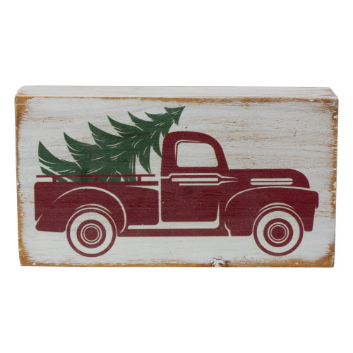 """6"""" White Wooden Christmas Sign with Vintage Red Truck and Tree - IMAGE 1"""