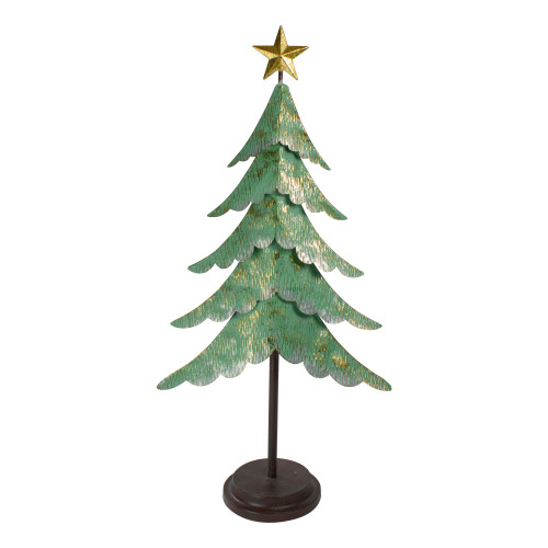 """31"""" Rustic Green and Gold Layered Christmas Tree With a Star Tabletop Decor - IMAGE 1"""