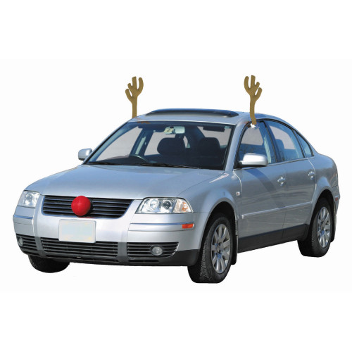 """19"""" Brown and Red Reindeer Christmas Car Decorating Kit - Universal Size - IMAGE 1"""