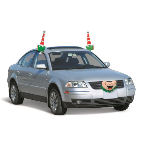 """19"""" Red and Green Elf Christmas Car Decorating Kit - Universal Size - IMAGE 1"""