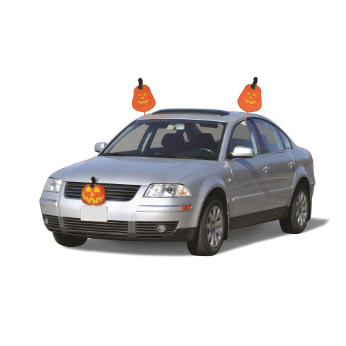 "19"" Orange and Yellow Pumpkins Halloween Car Decorating Kit - Universal Size - IMAGE 1"