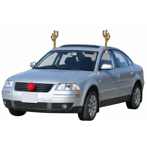 19-Inch Lighted Brown and Red Reindeer Christmas Car Decorating Kit - Universal Size - IMAGE 1