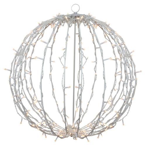"23"" LED Lighted Christmas Hanging Ball Decoration – Warm White Lights - IMAGE 1"
