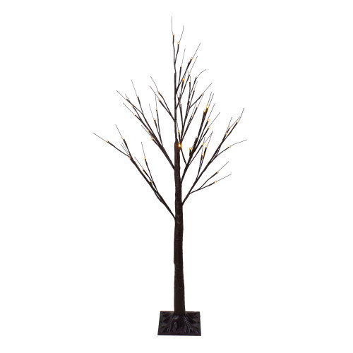 4' LED Lighted Christmas Brown Birch Twig Tree Outdoor Decoration - Warm White LIghts - IMAGE 1