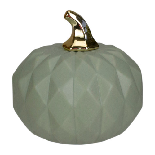 "7"" Green and Gold Fall Harvest Ceramic Pumpkin Decoration - IMAGE 1"
