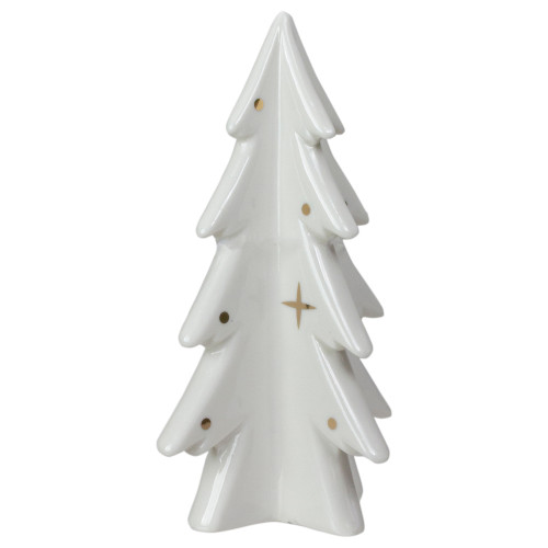 "6.25"" White and Gold Ceramic Mini Christmas Tree Tabletop Decoration - IMAGE 1"