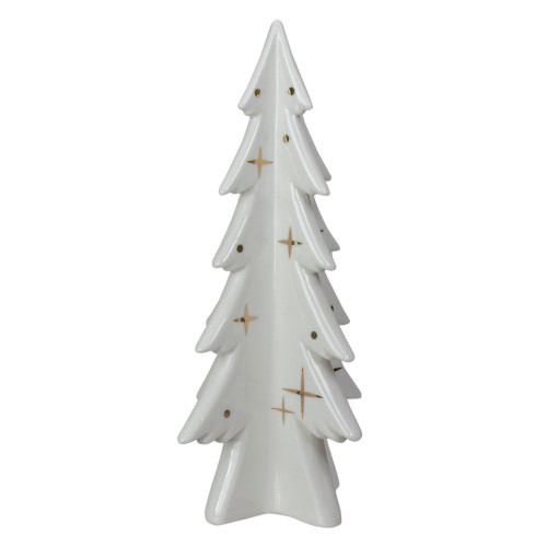 "9"" White and Gold Ceramic Mini Christmas Tree Tabletop Decoration - IMAGE 1"