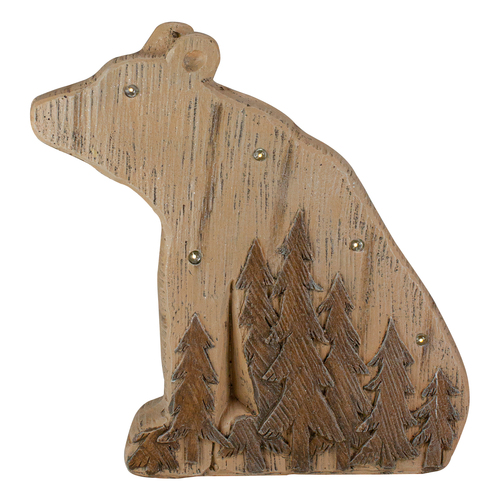 "13.5"" Lighted Brown Bear Christmas Tabletop Decoration - IMAGE 1"