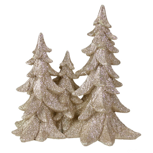 "8"" Champagne Gold Glittered Christmas Tree Trio Tabletop Decoration - IMAGE 1"