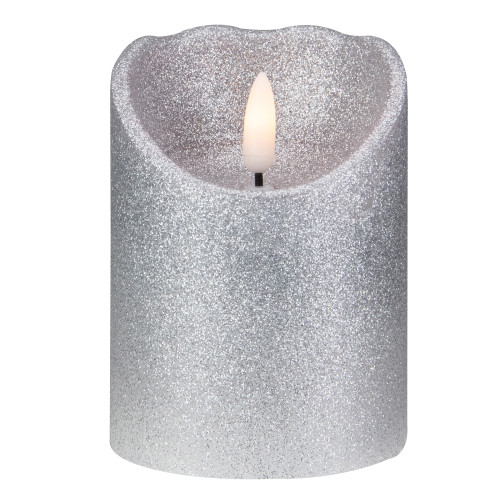 "4"" LED Silver Glitter Flameless Christmas Decor Candle - IMAGE 1"