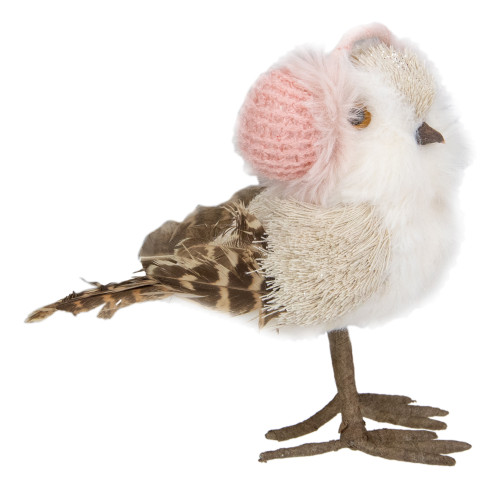 "6.25"" Winter Bird in Pink Earmuffs Tabletop Christmas Decoration - IMAGE 1"