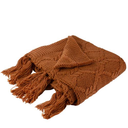 "Golden Ochre Knit Throw Blanket with Tassels 50"" x 60"" - IMAGE 1"