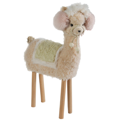 "14"" Standing Beige and Pink Llama in Earmuffs Tabletop Christmas Decoration - IMAGE 1"