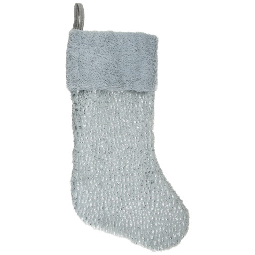 "20"" Gray and Silver Faux Fur Christmas Stocking - IMAGE 1"