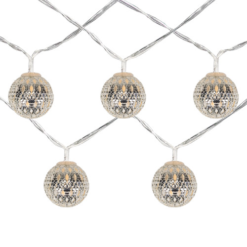 10 B/O LED Warm White Silver Metal Ball Christmas Lights - 6.25' Clear Wire - IMAGE 1