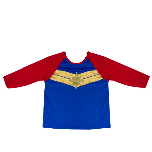 Girls Captain Marvel Child Halloween Costume Top Size Small 6+ - IMAGE 1