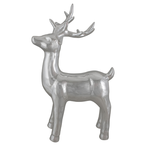"14"" Metallic Silver Standing Reindeer Christmas Tabletop Decor - IMAGE 1"