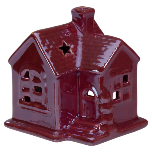 """4"""" Pink Ceramic House Christmas Tabletop Decoration - IMAGE 1"""