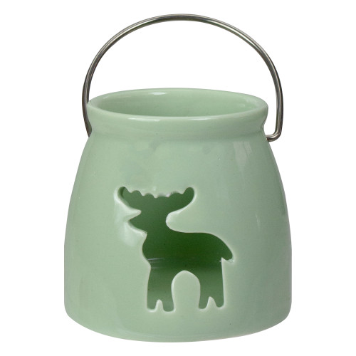 """3"""" Light Green Christmas Votive Candle Holder with Reindeer Cut Out - IMAGE 1"""