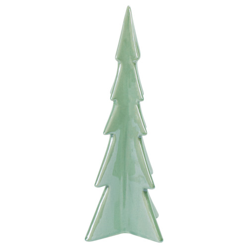 "10"" Green Pearl Finished Ceramic Christmas Tree Tabletop Decor - IMAGE 1"
