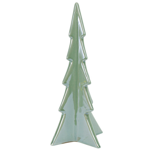 "8"" Green Pearl Finished Ceramic Christmas Tree Tabletop Decor - IMAGE 1"