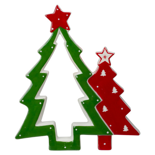 """9"""" Green and Red Ceramic Christmas Tree Tabletop Decoration - IMAGE 1"""