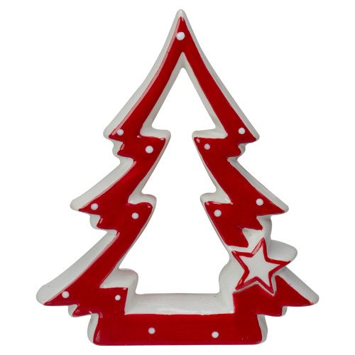 """4.5"""" Red and White Ceramic Christmas Tree Tabletop Decoration - IMAGE 1"""