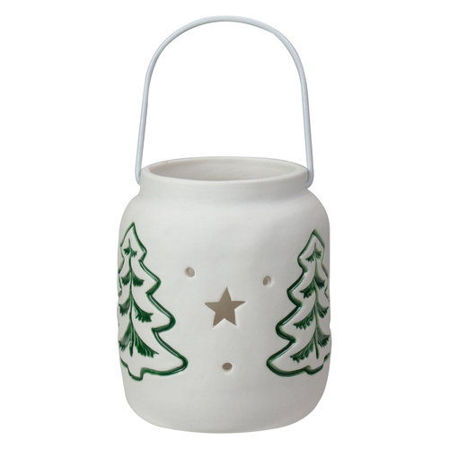 """4"""" White and Green Christmas Votive Candle Holder - IMAGE 1"""