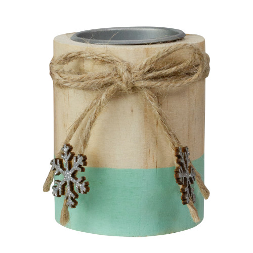 "3"" Green and Natural Wood Christmas Tea Light Candle Holder - IMAGE 1"