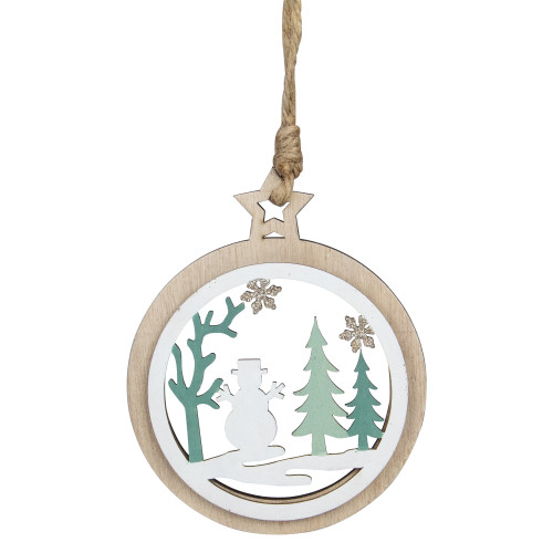 """4.25"""" Green and White Snowman in a Forest Christmas Ornament - IMAGE 1"""