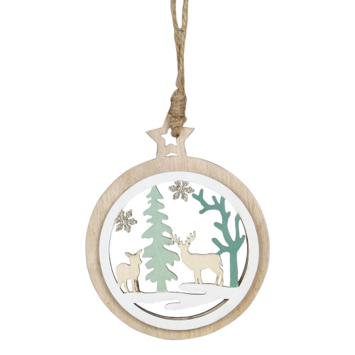 """4.25"""" Green and White Reindeer in a Forest Christmas Ornament - IMAGE 1"""