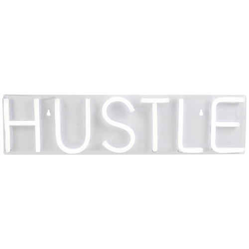 "20"" Bright White Neon Style Hustle LED Lighted Wall Sign - IMAGE 1"
