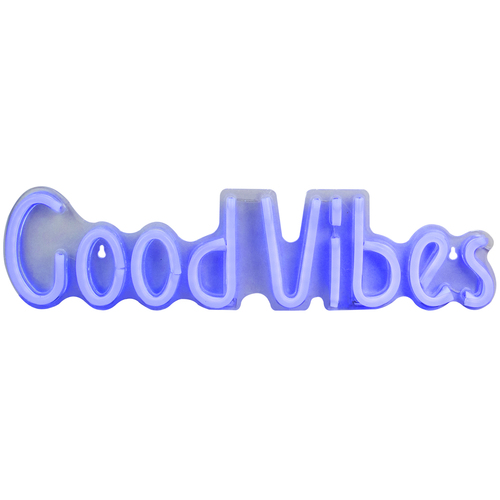 """19"""" Bright Blue Neon Style Good Vibes LED Lighted Wall Sign - IMAGE 1"""