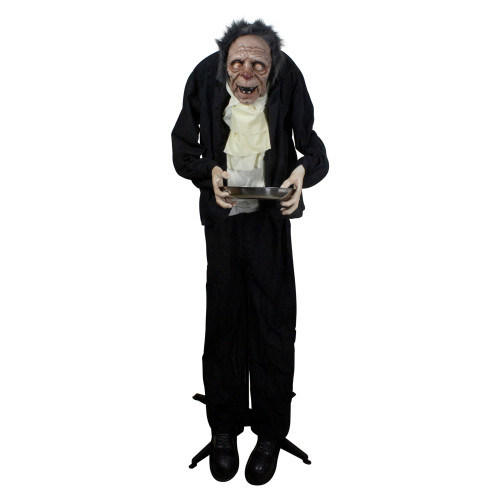 6' Lighted Animated Scary Butler Standing Halloween Decoration - IMAGE 1